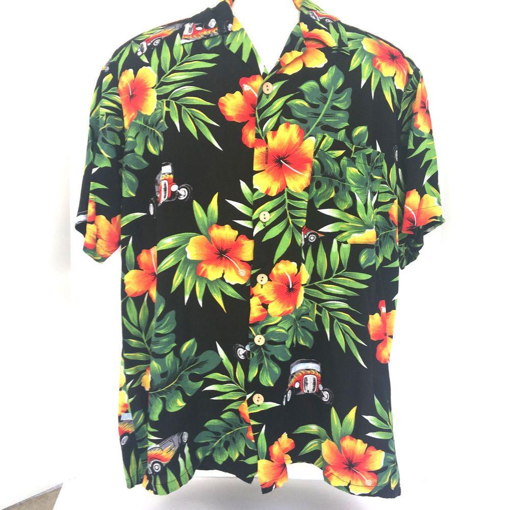 Kennington LTD Men's Hawaiian Hibiscus Hot Rod Flames Cars Tiki Shirt Large #Kennington #Hawaiian