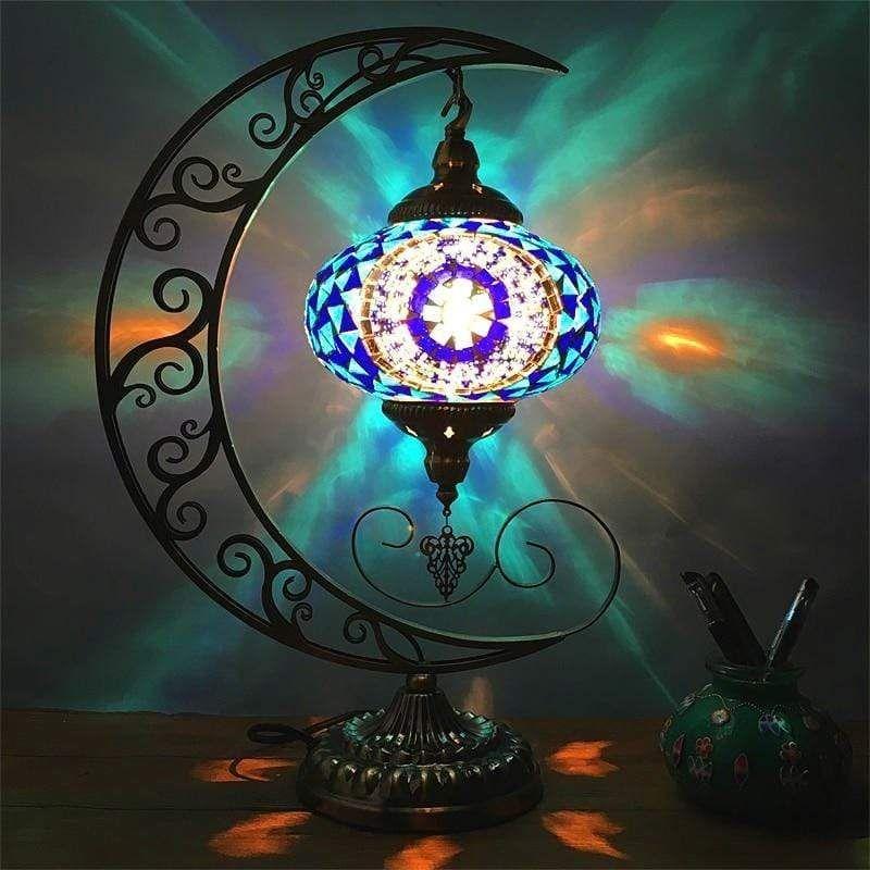 Boho Romantic Moon Table Lamp Glass Table Decor Mosaic Lamp Moon Decor
