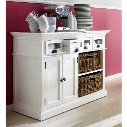 HALIFAX White Mahogony Buffet Dresser Or Sideboard Offering 4 Drawers Double Door And BuffetDining Room