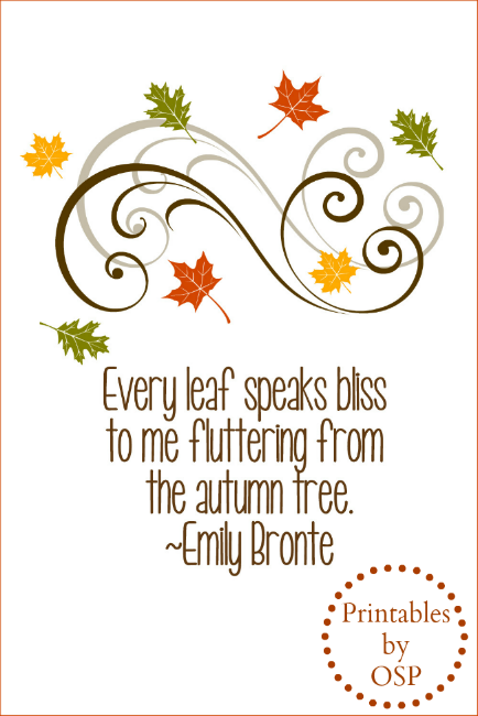 Delightful Emily Bronte Autumn Quote Free Printable ~ Ready For Instant Download!