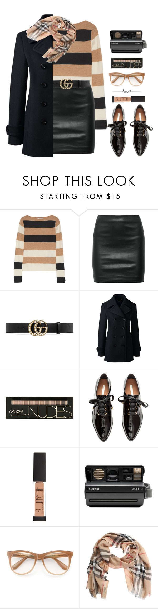 """Cashmere & Leather!"" by prettynposh2 ❤ liked on Polyvore featuring MaxMara, The Row, Gucci, Lands' End, Surratt, Polaroid, Wildfox, Burberry, cashmere and wintersweater"