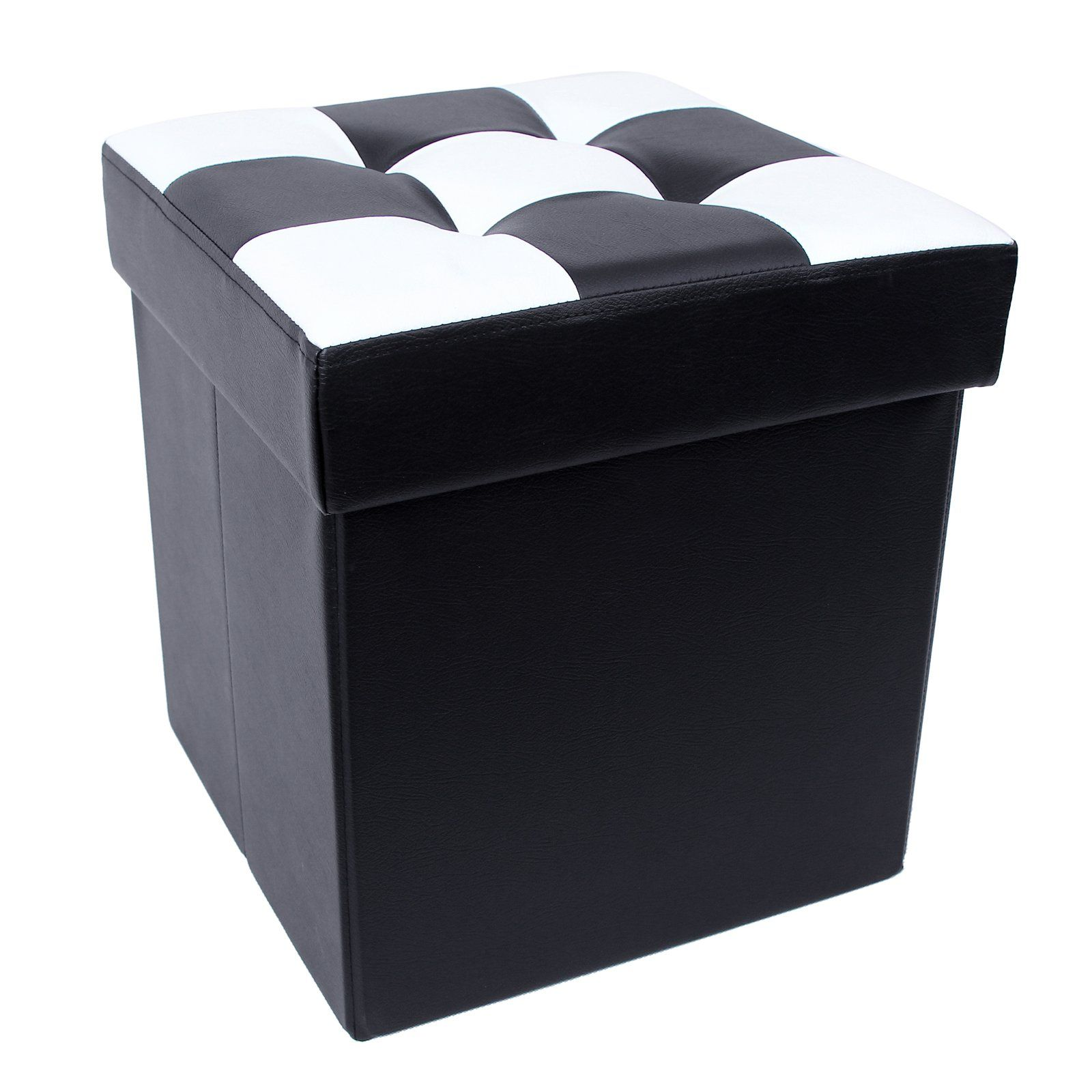 Songmics 40x38x38 Cm Tabouret Cube Pouf De Pliable Coffre Boite De Rangement Noir Blanc Amazon Fr Cuisine Maiso Pouf Rangement Rangement Noir Rangement