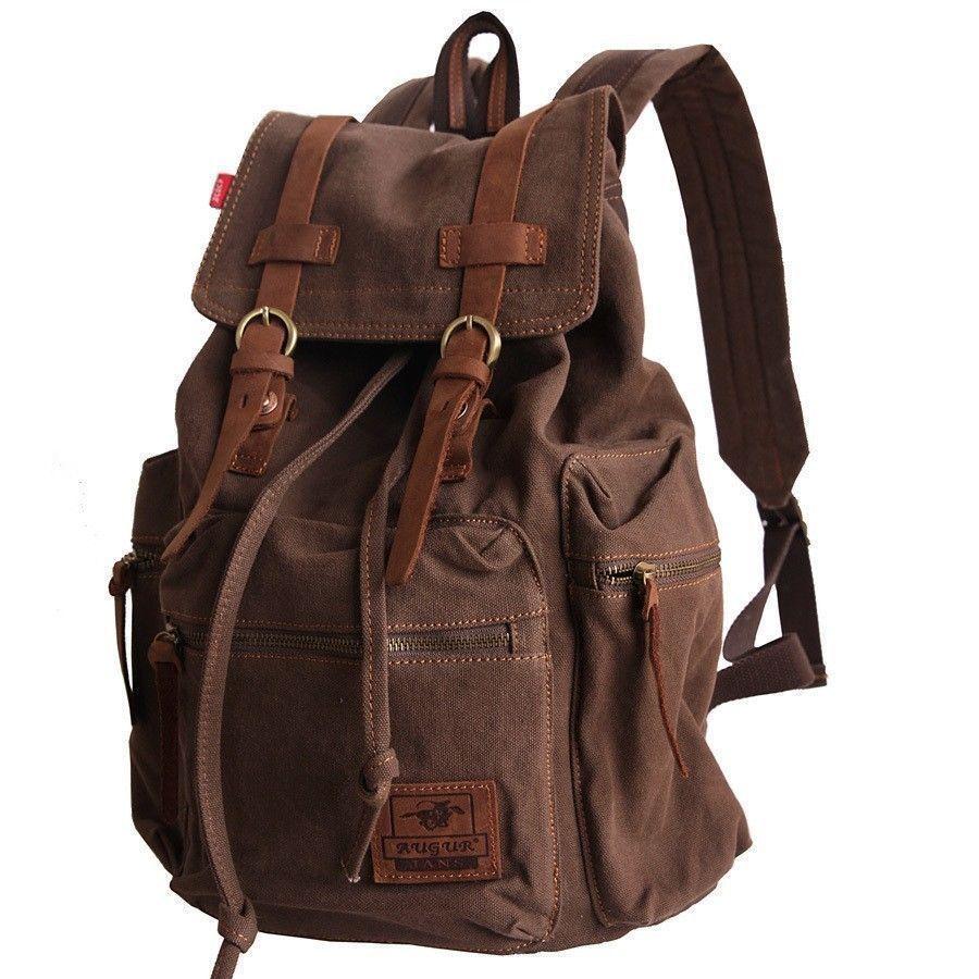 Vintage Travel Rucksack Leather Men School Laptop Backpack Satchel Shoulder Bag