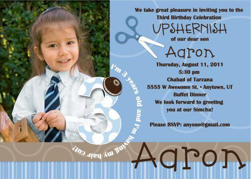 Printable Upshernish Invitation 3rd Birthday Jewish First Hair Cut – 3rd Birthday Invite Wording