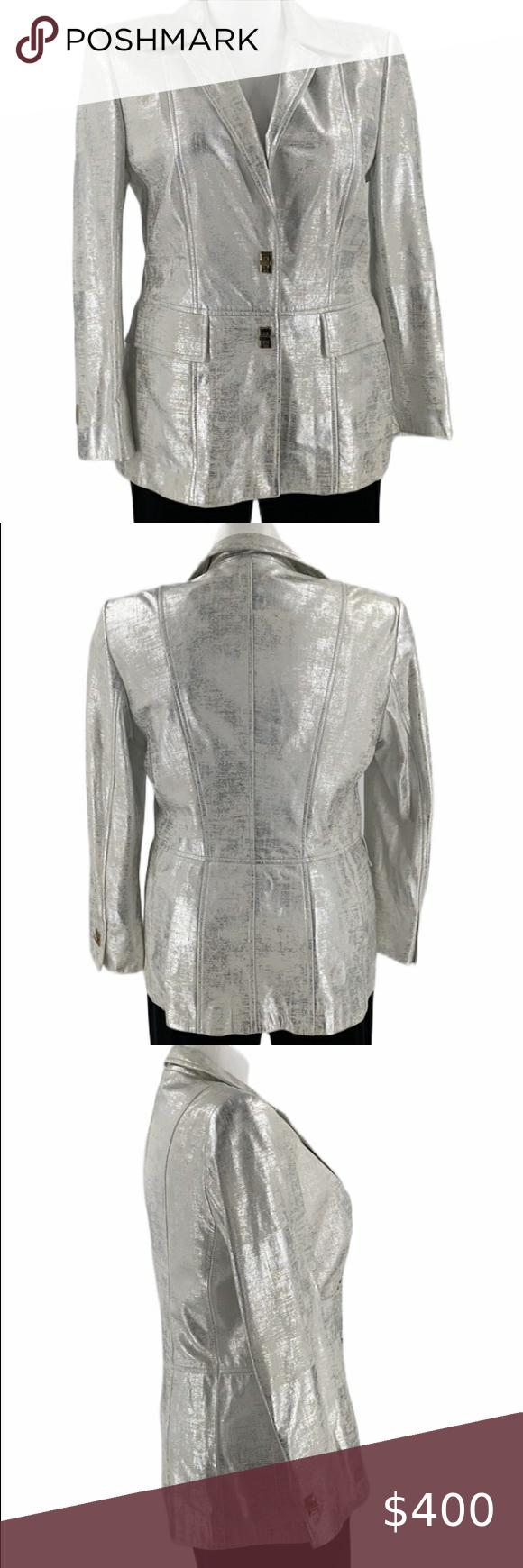 Escada Leather Silver Shiny Jacket Blazer Top X L Escada Leather Jacket Soft And Supple And Lined Signs Of Wea Shiny Jacket Lamb Leather Jacket Leather Jacket [ 1740 x 580 Pixel ]