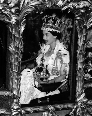 HRH Queen Elizabeth II Coronation 1953 The Queen riding along in the coronation coach wearing crown and carrying orb https://www.facebook.com/groups/260713314096465/
