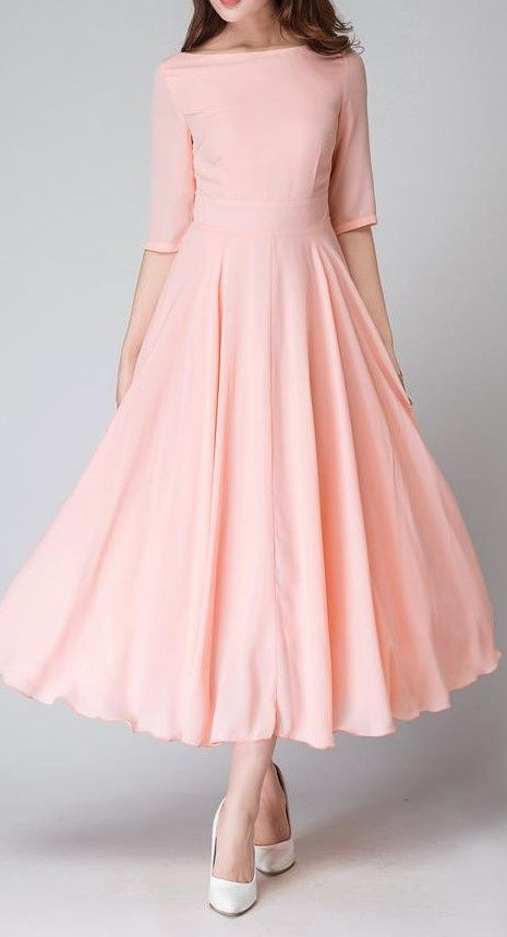 Peach Dress Pink Bridesmaid Chiffon Half Sleeve Maxi