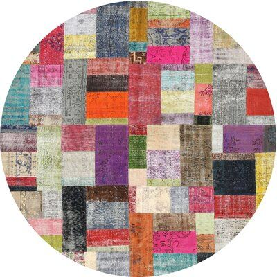 Photo of East Urban Home Contemporary Red/Brown/Blue Area Rug Rug Size: Round 5′