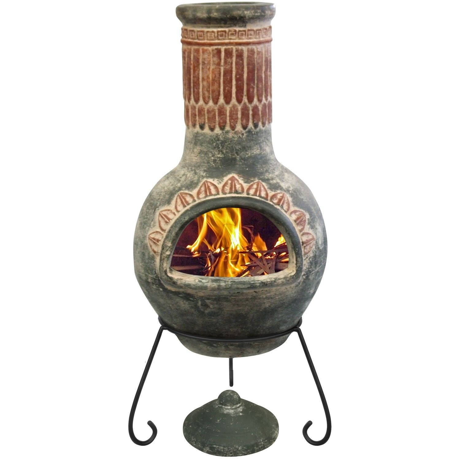 Gardeco Plumas Mexican Chiminea with Lid and Stand - Large ...