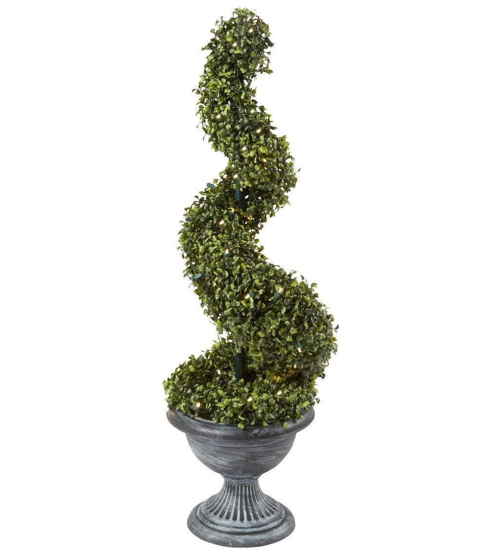 Topiary Tree Artificial Boxwood 36 Lighted Plant Decoration Battery