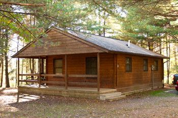 This Modern Log Cabin Can Be Rented At Hills Creek State Park, Pennsylvania.