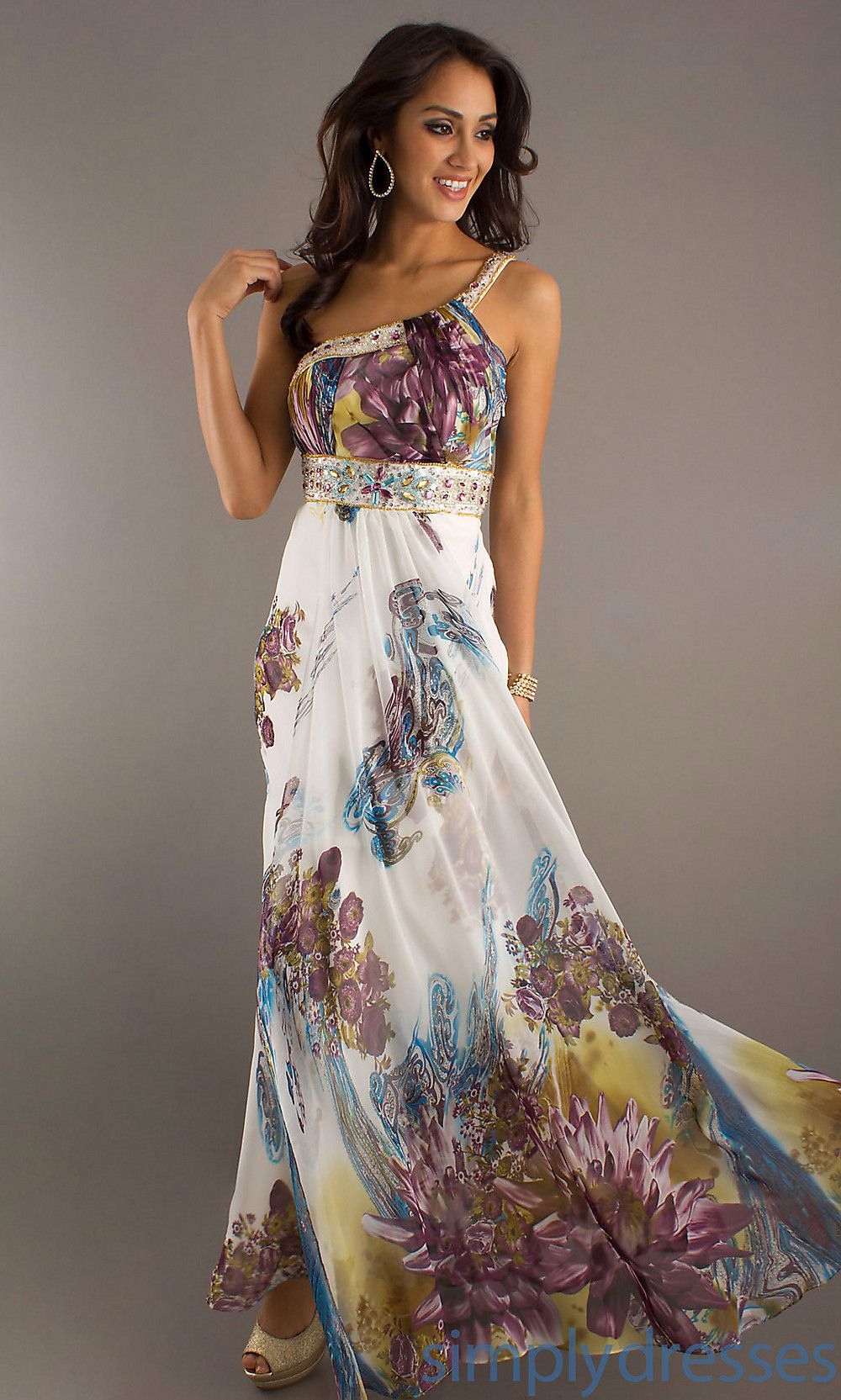 Long one shoulder print prom dress simply dresses shoulder prom