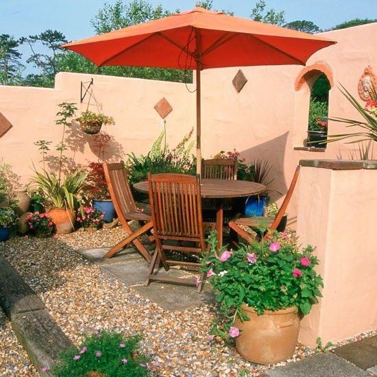 Garden Ideas | Garden Furniture | Parasol | Alfresco Entertaining | Mediterranean  Garden | Galler Image Design Inspirations