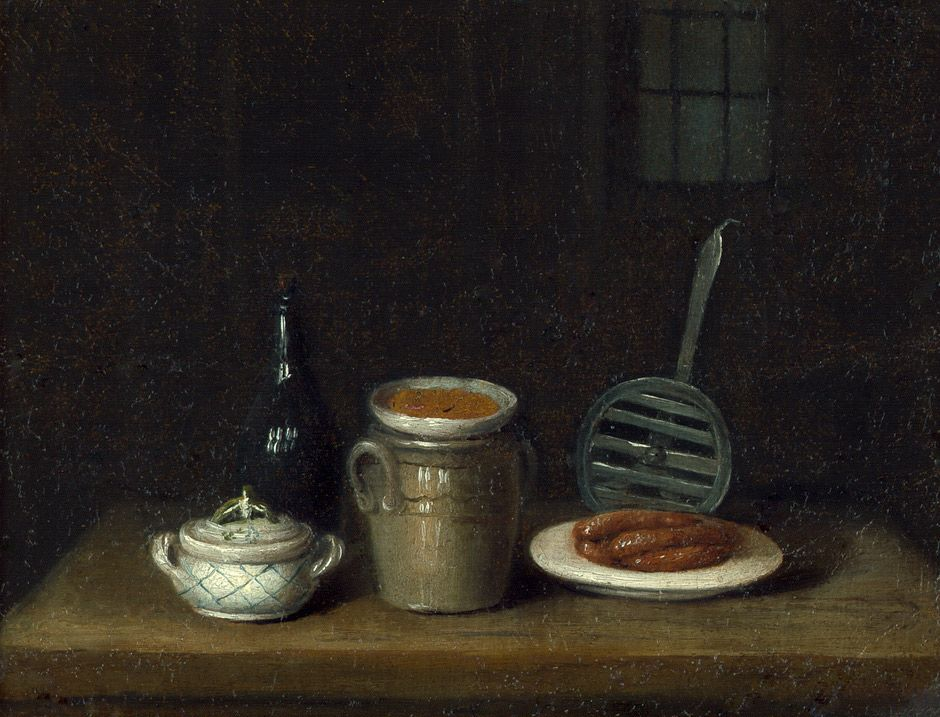 18th century still life with sausage and mustard pot