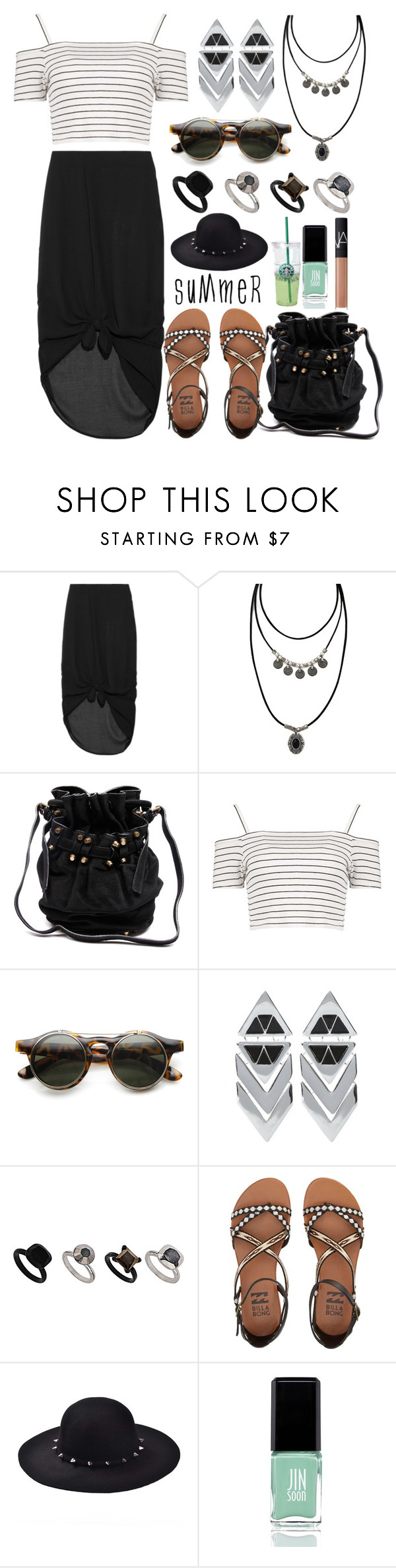 """Summer"" by may-calista ❤ liked on Polyvore featuring Minimarket, Forever 21, Alexander Wang, Boohoo, Topshop, Billabong, JINsoon, NARS Cosmetics, Summer and blackandwhite"