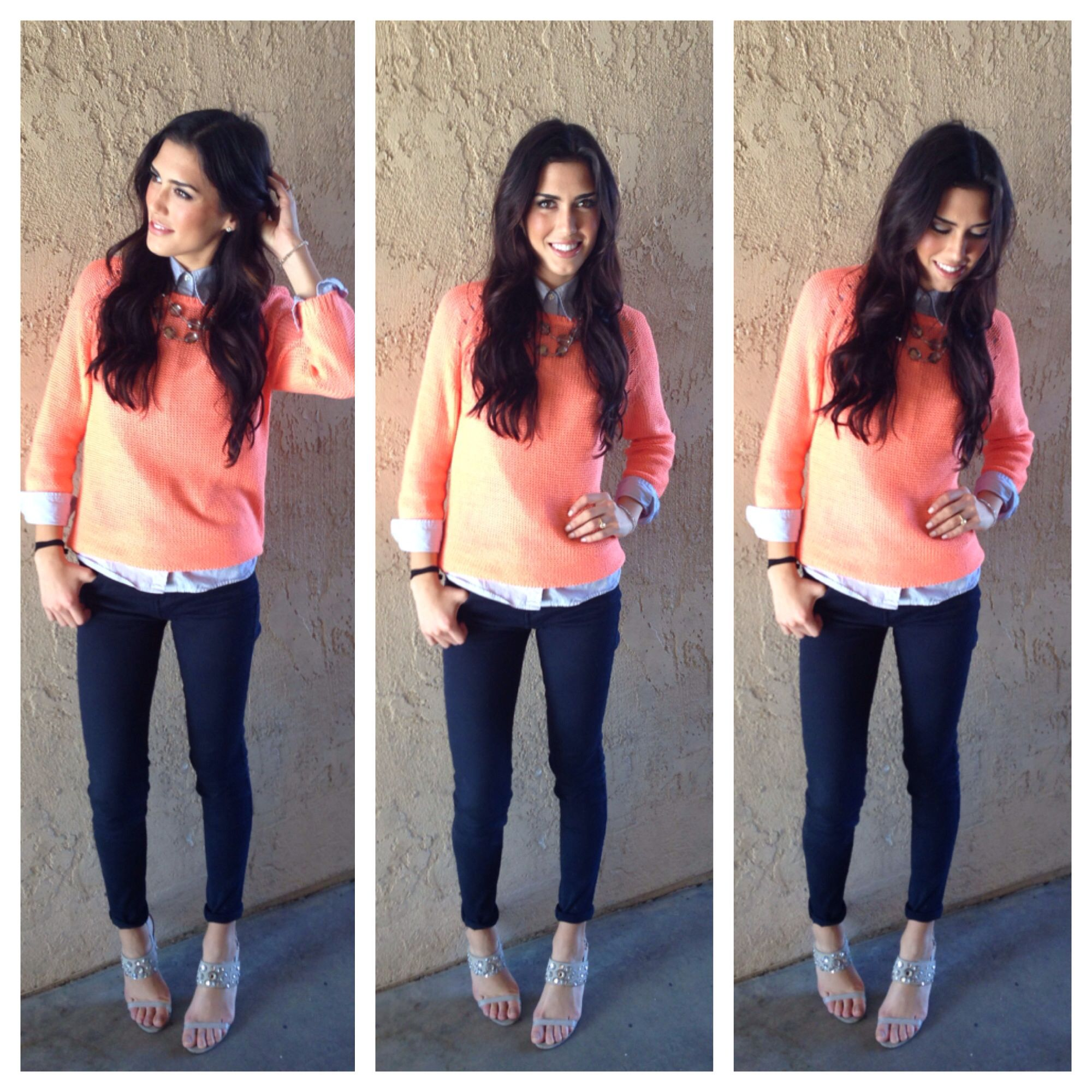25c60888d32 Salmon color sweater over a dress shirt with navy blue jeans and statement  necklace! Perfect fall outfit!!  Karely s Tips on instagram