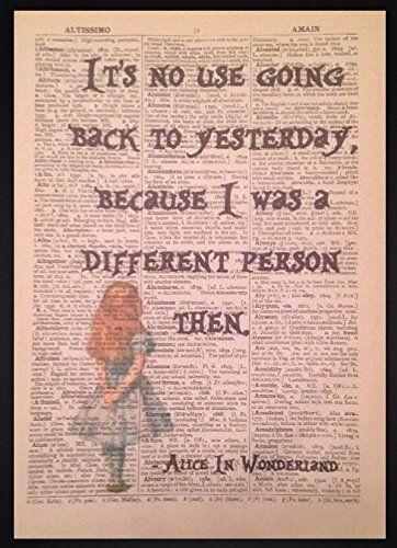 Alice Im Wunderland Zitat Vintage Wörterbuch Buch Seite Druck Wand Bild