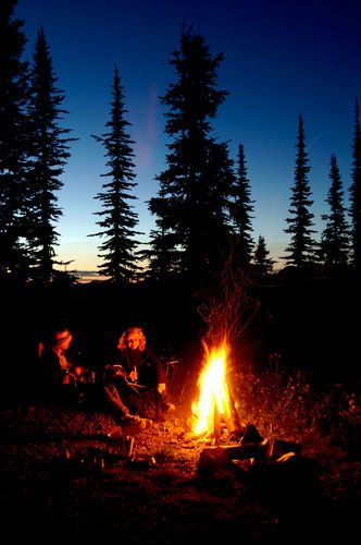 Camp Fire on Idaho Peak in the Selkirk Mountains Near New Denver;Tourism BC-David Gluns