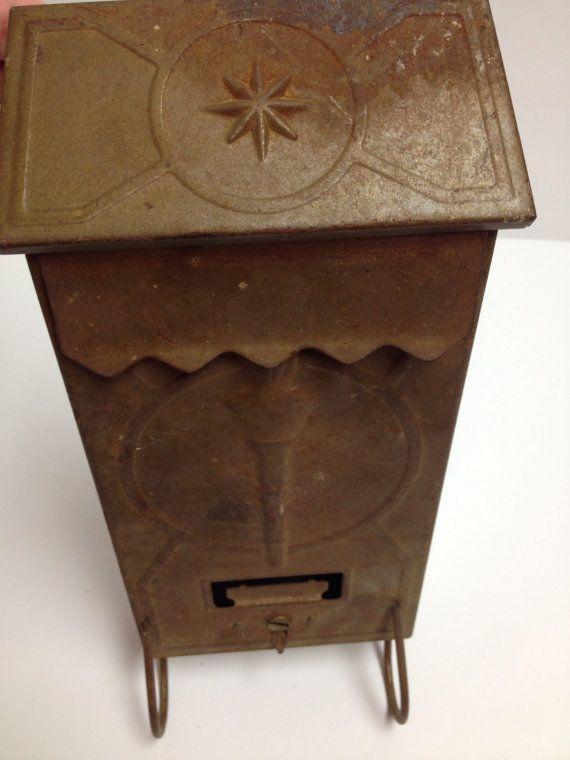Charming Vintage Metal Wall Mounted Mailbox With Newspaper Etsy Mounted Mailbox Wall Mount Mailbox Metal Walls