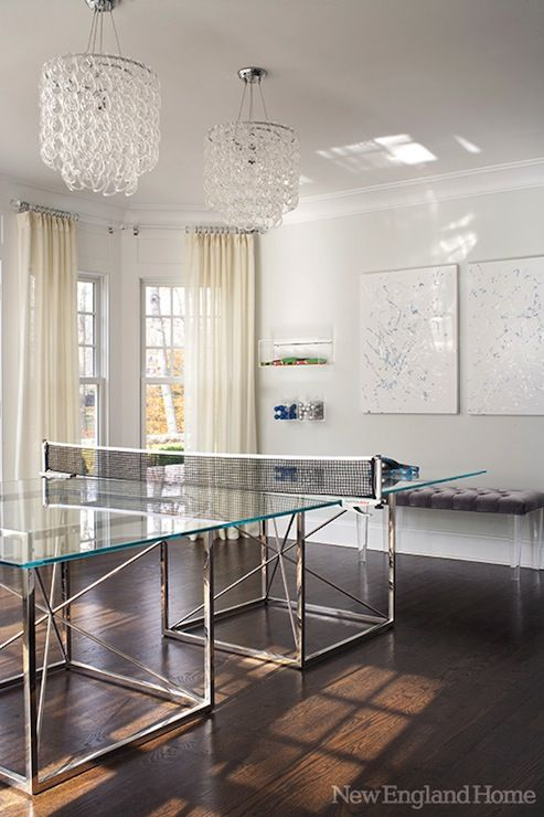 New England Home - media rooms - Giogali Chandelier, game rooms ...