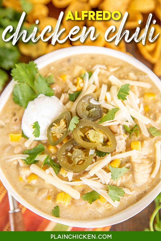 Alfredo Chicken Chili Chicken Chili Recipe Easy Chicken Chili Recipe Southern Cornbread Recipe
