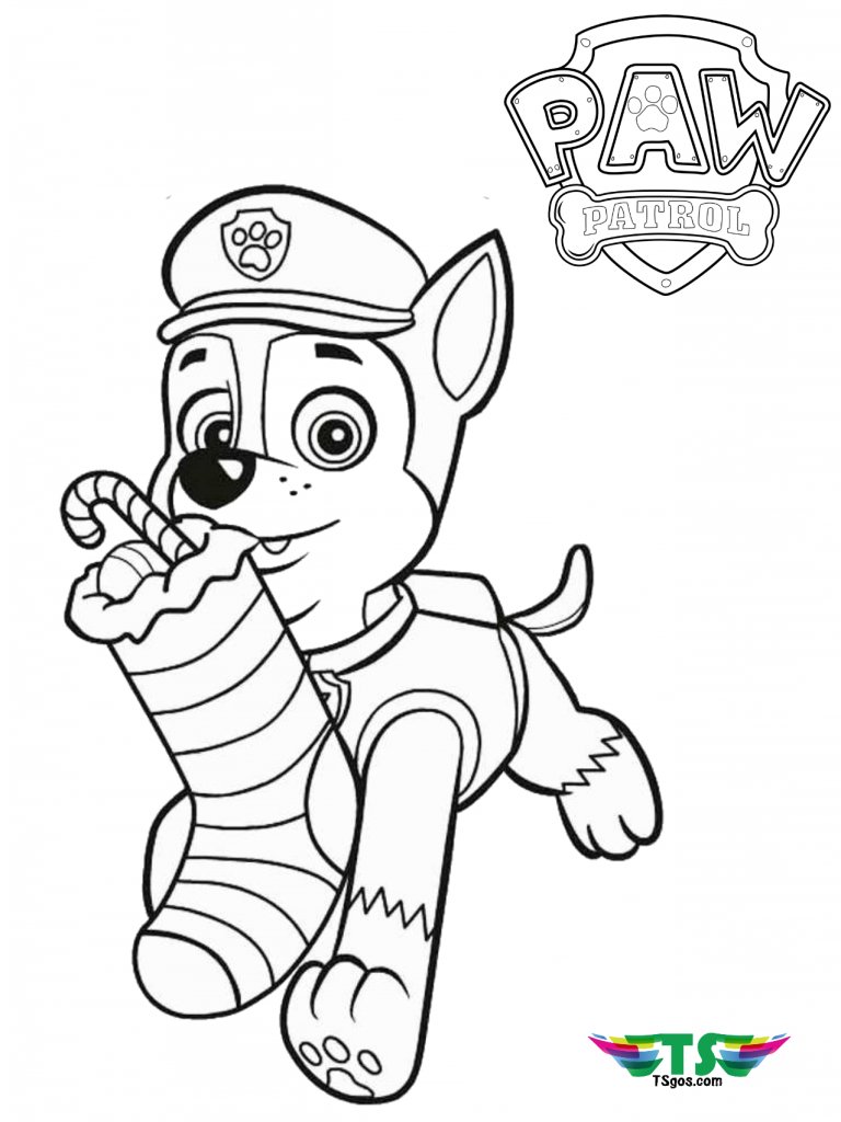 Paw Patrol Merry Christmas coloring page. | Merry ...