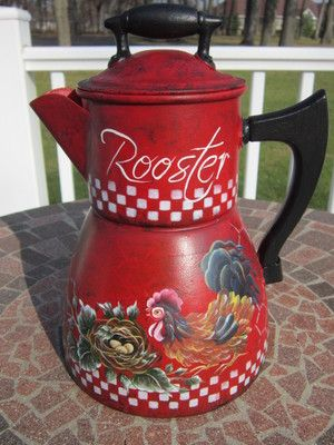 Awwwesome hand painted coffee pot with wooden knob on top and on side. 10 in tall. Painted by Andrea