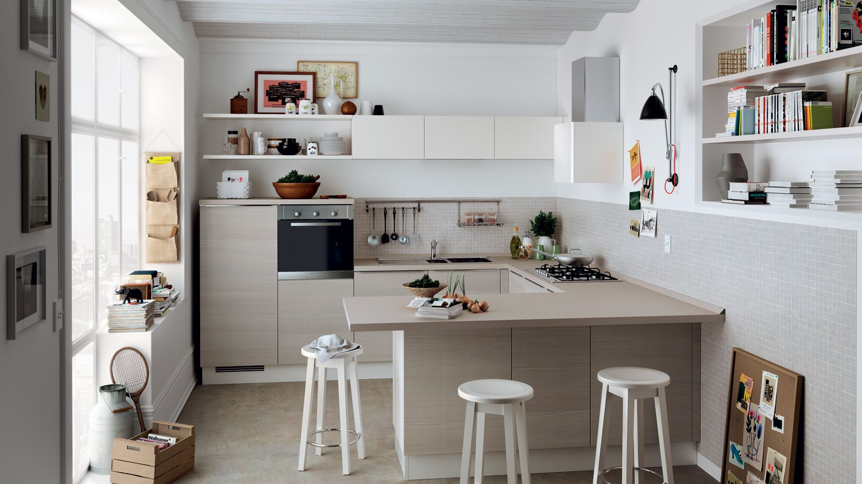 Kitchen Urban Urban Minimal Scavolini Ristrutturazione Piccola Cucina Credenza Aperta Disposizione Cucine Piccole