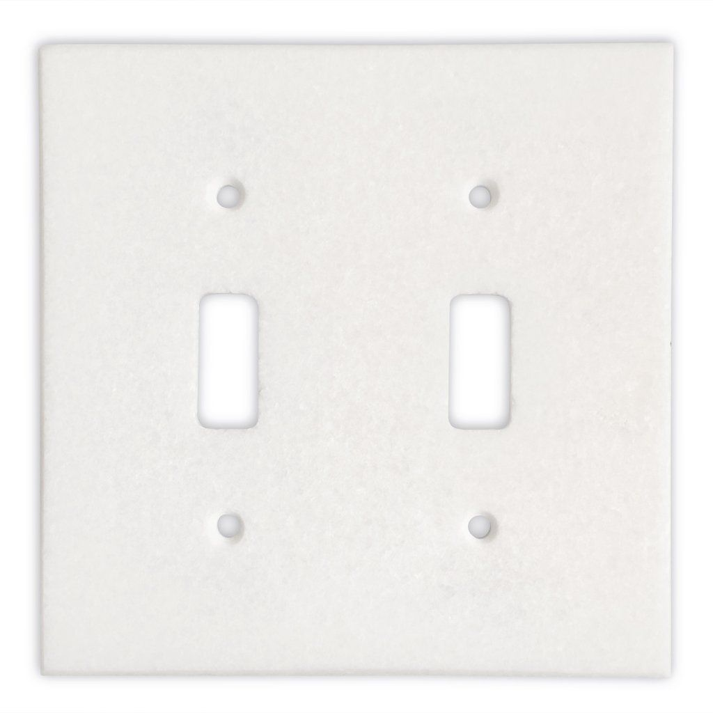 Thassos White Marble Double Toggle Switch Wall Plate