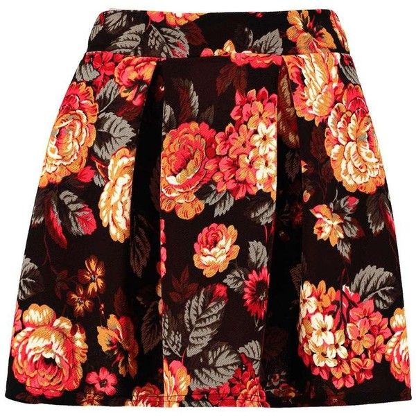 Lua Floral Box Pleat Skater Skirt ($10) ❤ liked on Polyvore featuring skirts, floral knee length skirt, box pleat skirt, floral print skater skirt, red flared skirt and circle skirt