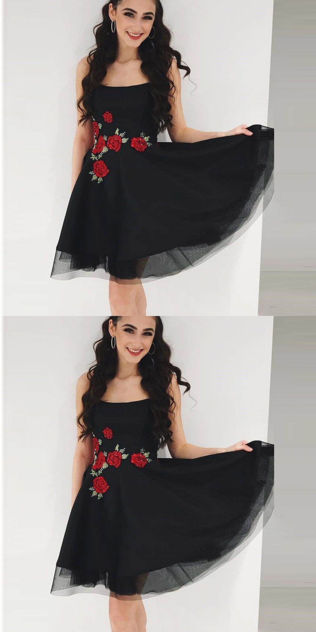 Aline scoop sleeveless black short homecoming dress with appliques