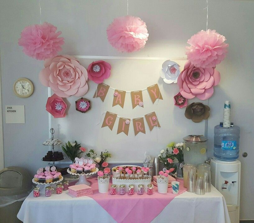 Perfect Girl Baby Shower At The Office, Cardstock Paper Flowers