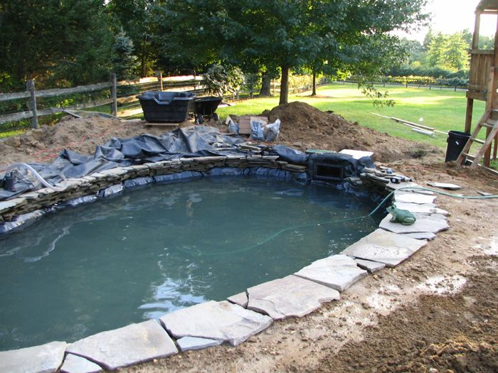 Koi pond construction pictures pond short list for Koi pond water murky