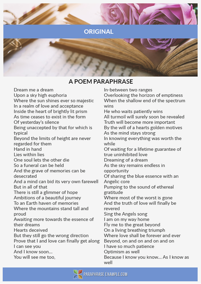 Paraphrase Original Poem With U By Following Thi Link Http Www Paraphraseexample Com Help A The Originals Example Of Sentence Paraphrasing