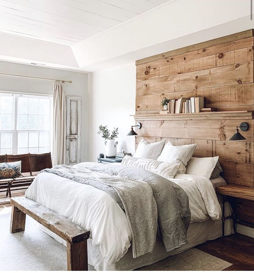 Rustic Queen Bed With Black Accent Wall Images: Wood Accent Wall Headboard With Shelf. Wood Bench. Rustic