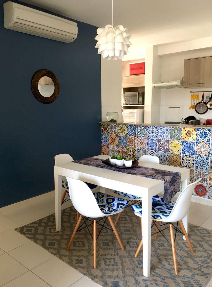 Sala De Jantar Com Balc O De Azulejo Hidr Ulico Adesivo Design  -> Adesivo Sala De Jantar