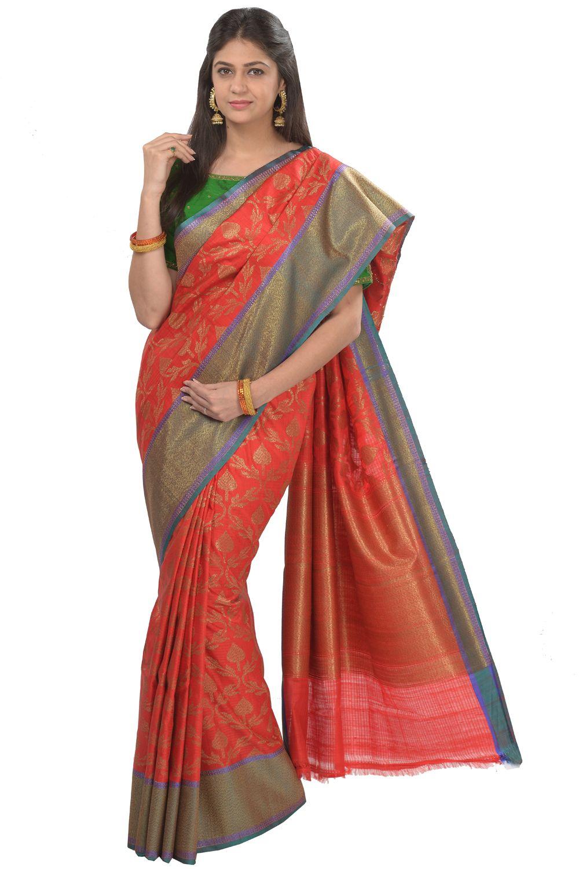 91ff1c8a2d5507  Kalanjali Exclusive  Banarasi  saree  Kumkum red fancy Banarasi dupian  silk saree  blend with jute hand woven intricate gold floral jaal all over  with ...