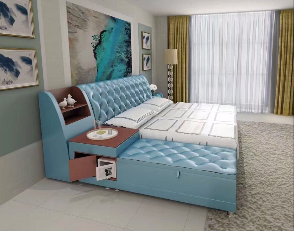 post modern real genuine leather bed / soft bed/double bed king ...