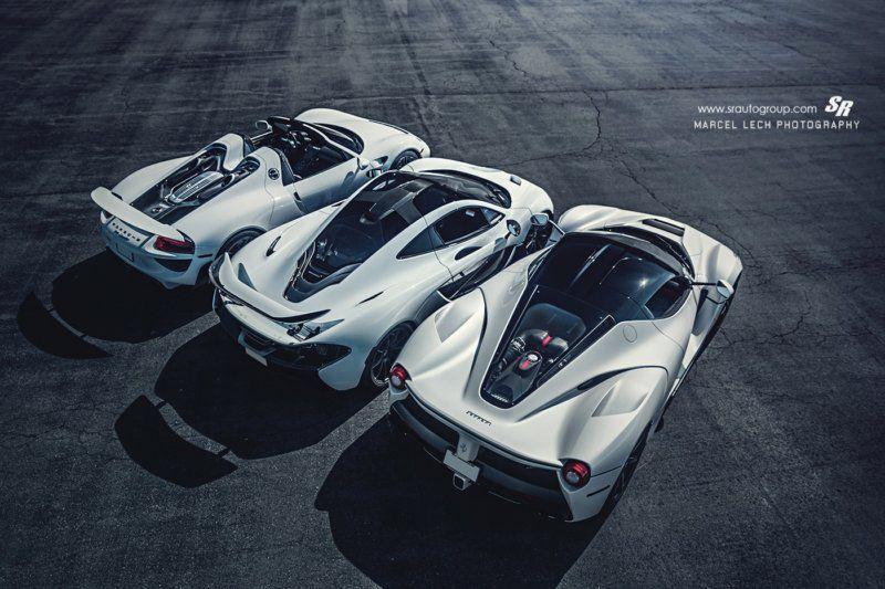 Mclaren P1 Laferrari And Porsche 918 In Their White Suits Sssupersports Com Mclaren P1 Porsche 918 Super Cars
