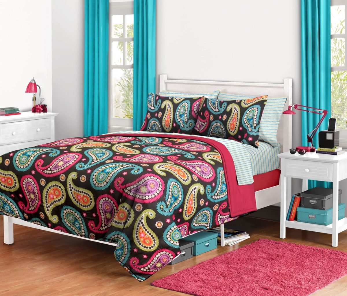 Bright Paisley Twin XL Bedding Set   6pc Floral Comforter Sheets
