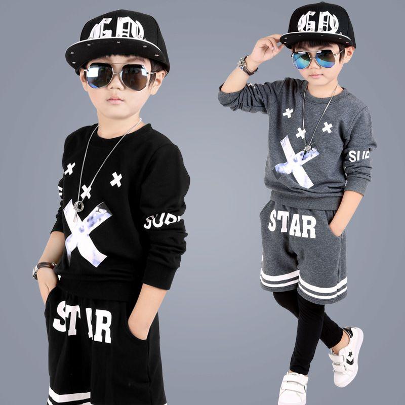 kids hip hop clothing Autumn New Boys Kids Suit Children Tracksuit Boys  Long Shirt + Pants Sweatshirt Casual Clothes 2 Color  Affiliate c6e648bdfd194