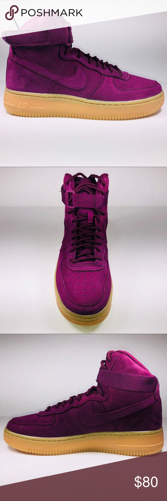 Nike Air Force 1 High WB (GS) Bordeaux Sneakers New With Damaged Box Missing 95cc6e940