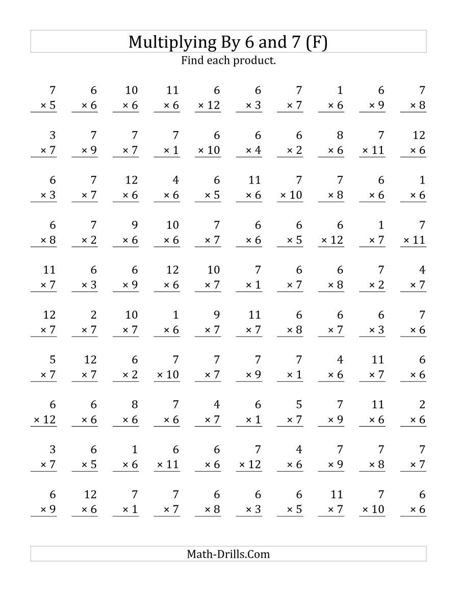 The Multiplying 1 to 12 by 6 and 7 (F) Math Worksheet   Multiplication  worksheets [ 1165 x 900 Pixel ]