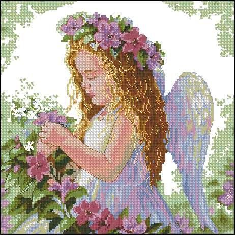 Скачать бесплатно схему вышивка крестом ангелочек
