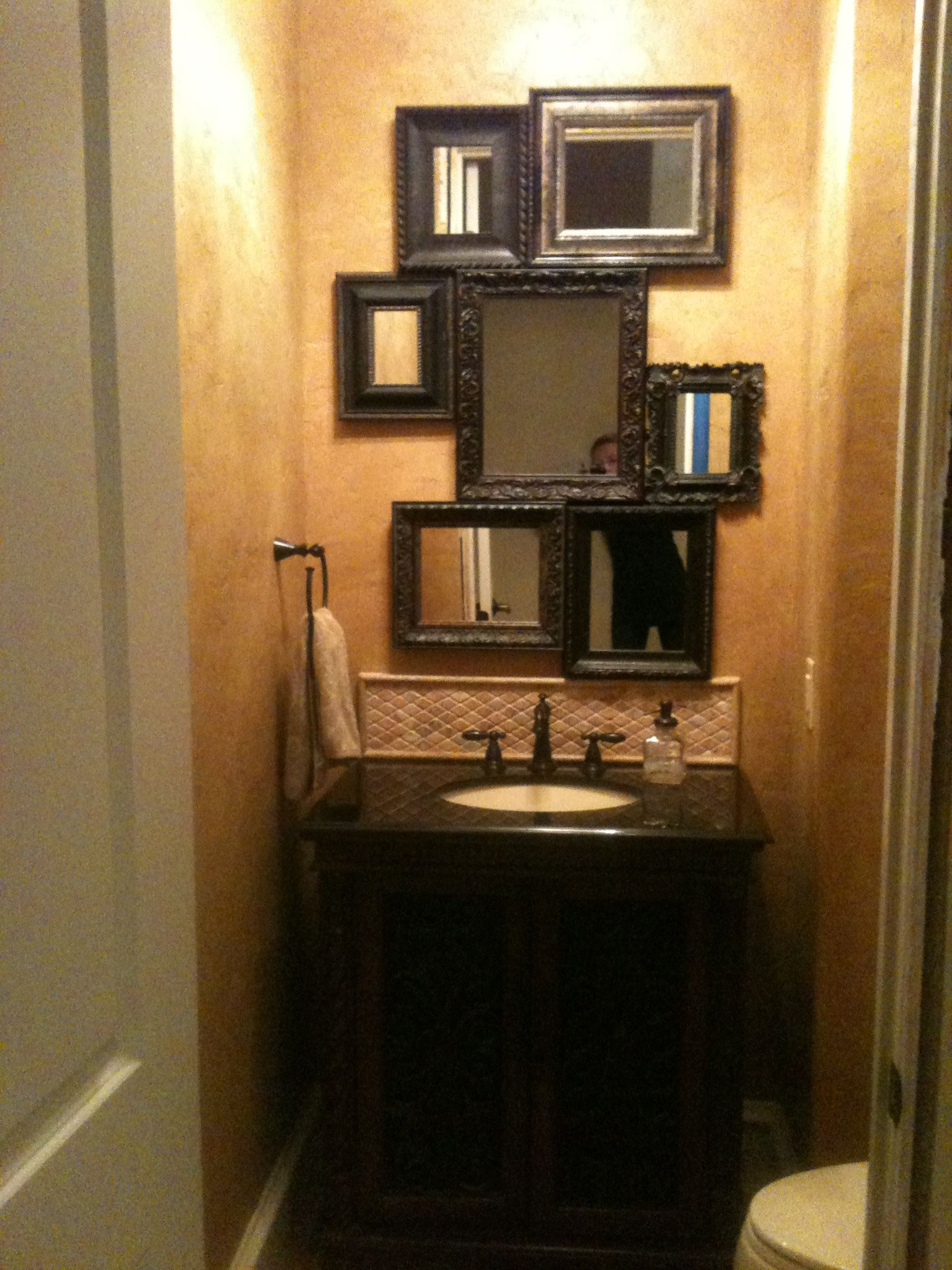 A One Of A Kind Mirror And Faux Finished Walls In Our Powder Bathroom