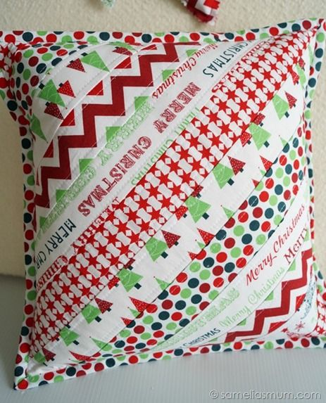 Festive QAYG Strip Cushion Tutorial Handmade Christmas Quilt Enchanting How To Cover A Pillow With Fabric