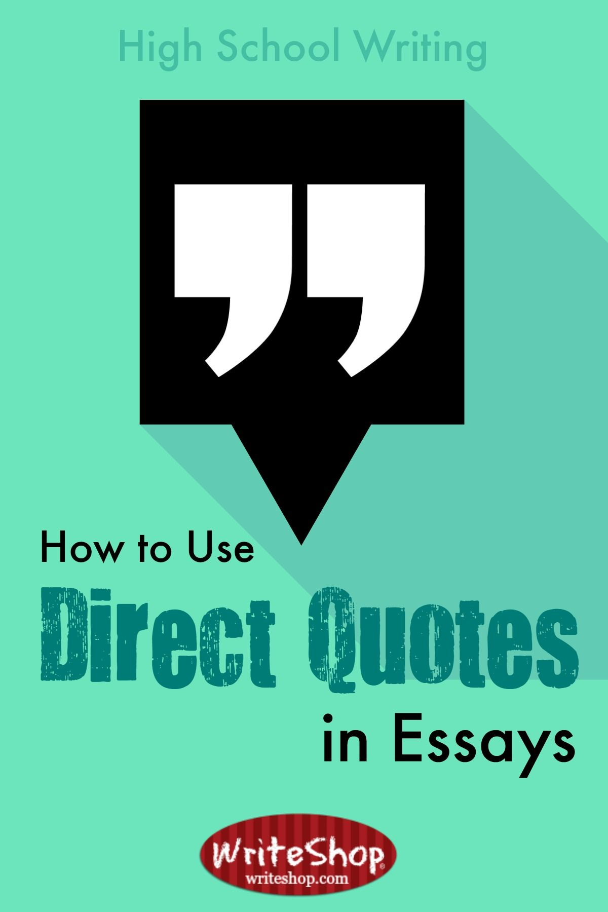 use of direct quotes in essays What is the proper use of [square brackets] in quotes these are used to indicate that a direct quote has brackets can also be used with quotes for.