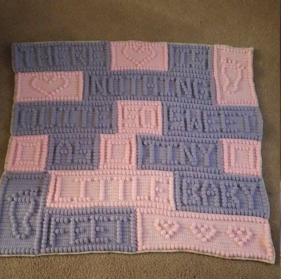 Pink and purple Crochet baby blanket afghan baby feet blanket baby ...