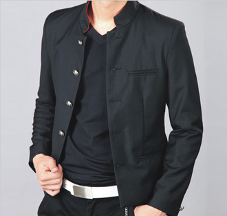 Mandarin collar Men's Casual Black Short Blazer | Pinterest for ...