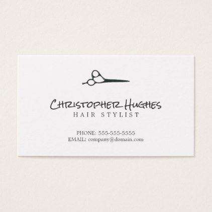 Minimalist Elegant Plain White Hairdresser Business Card Zazzle Com Hairdresser Business Cards Hairstylist Business Cards Business Card Minimalist